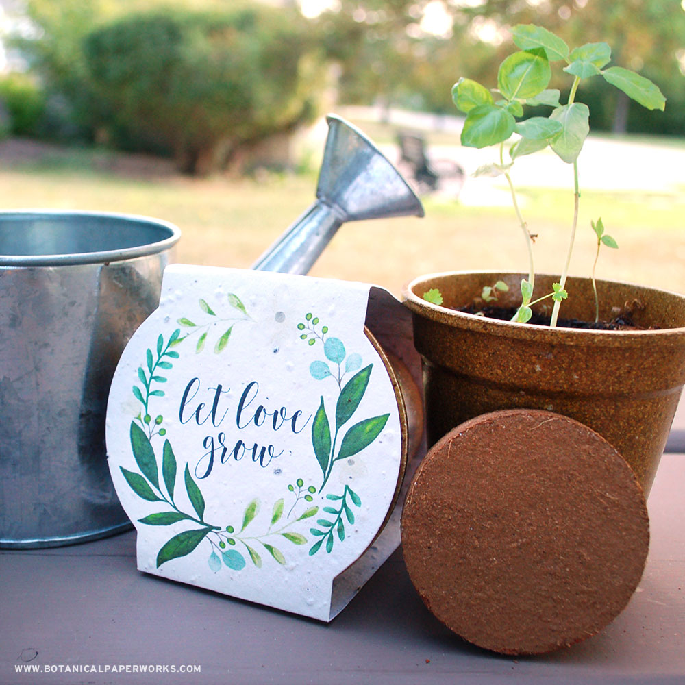 Each biodegradable Planting Kit Wedding Favor includes everything needed to grow tasty herbs with zero-waste left behind.