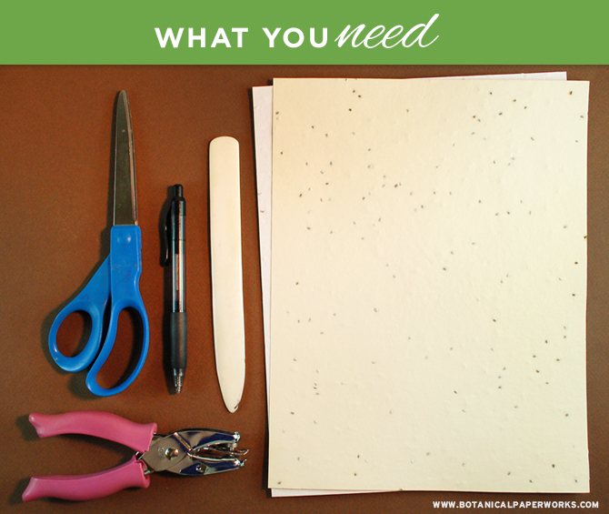 What you need to make easy leaf tags with herb seed paper.