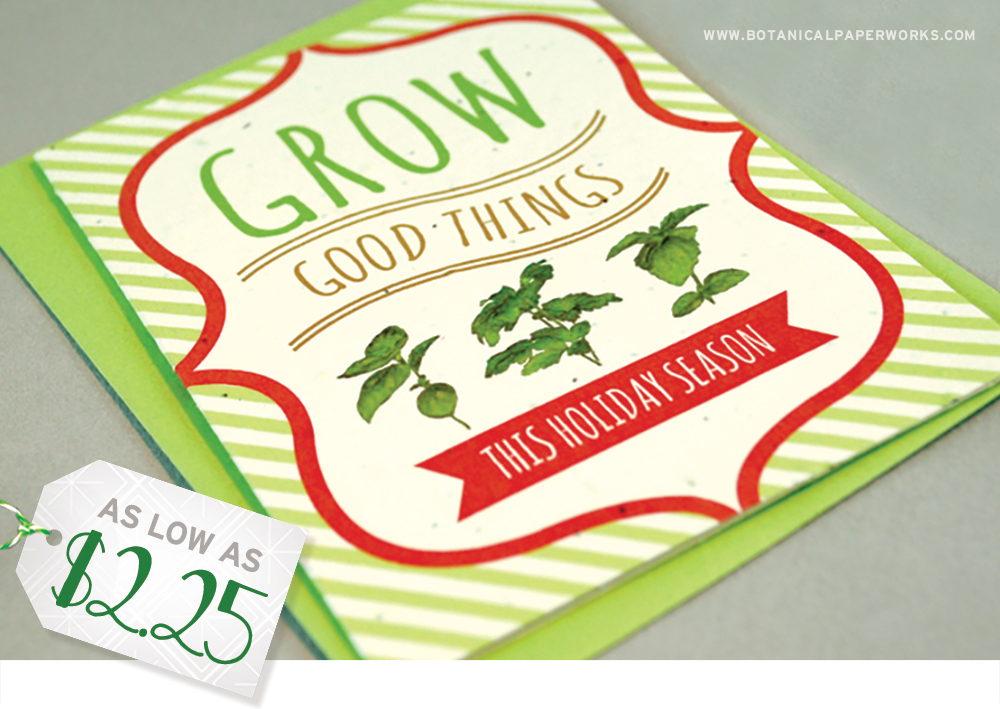 One of the best ways to spread holiday cheer is through Christmas cards, and you can customize these beautiful seed paper ones to promote your company.