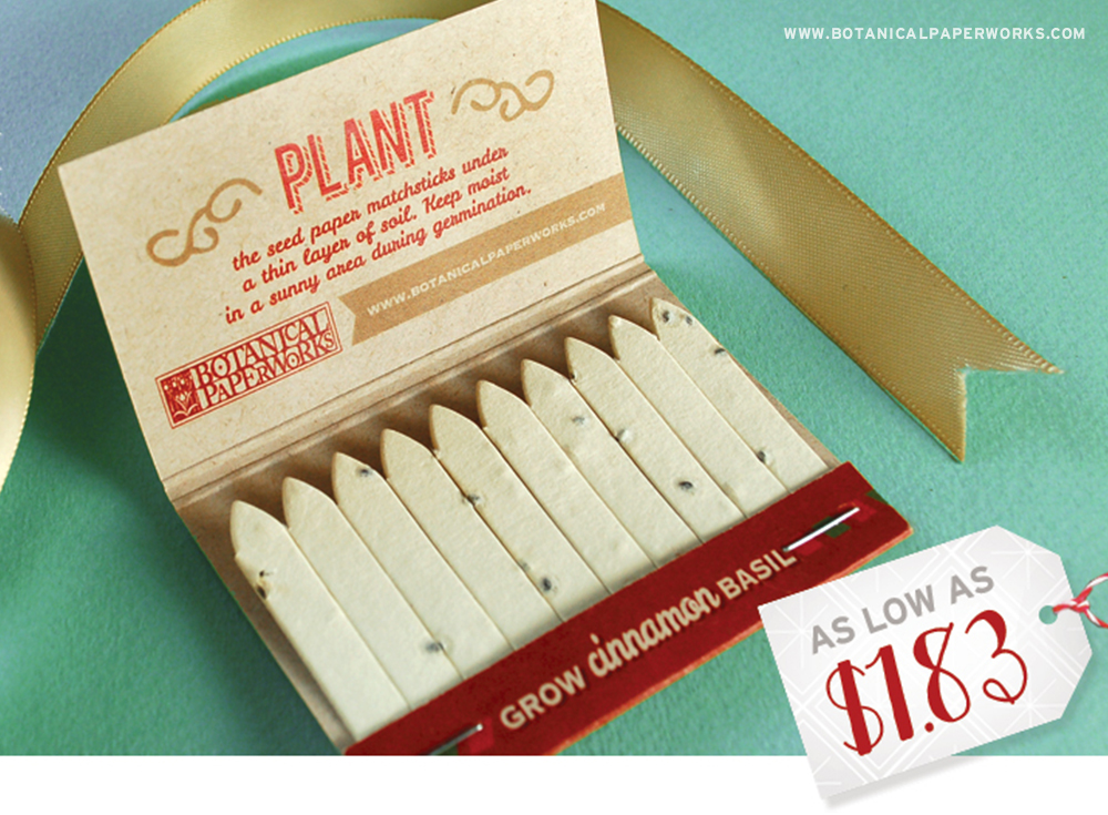 One of the best ways to create brand awareness is to give people a holiday promotion that they're sure to remember, and with these Holiday Seed Paper Matchbooks, you're sure to do just that!