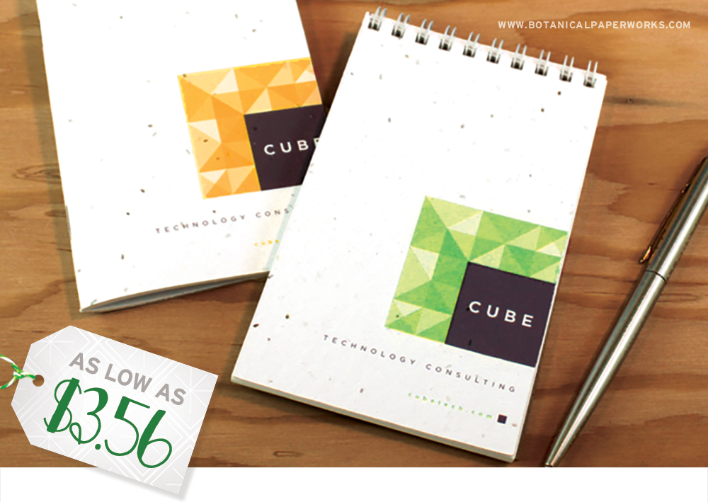 These customizable notebooks and notepads are not only tree-friendly, but also perfect for corporate promotions because clients will get great use from them and think about your business with every new entry.