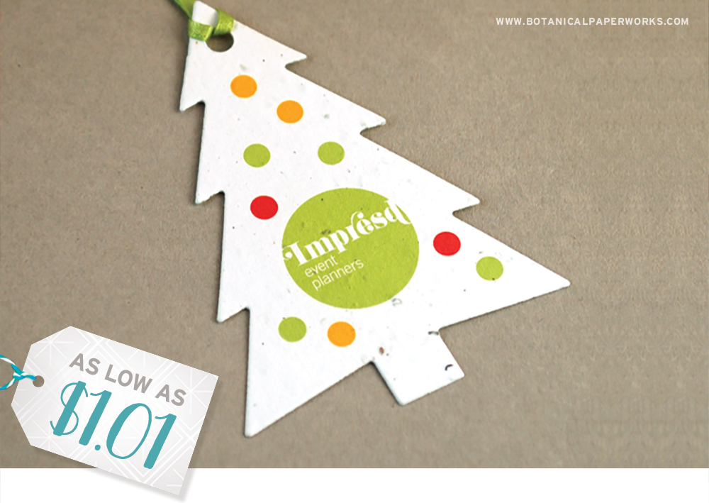 Available in pre-designed options, these seed paper Holiday Ornaments make the perfect promotional gift.