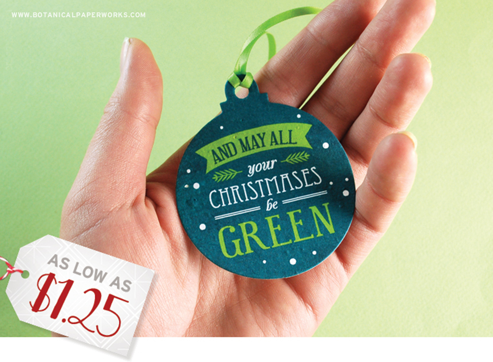 Perfect for all kinds of businesses, these Seed Paper Holiday Ornaments are one of the most unique ways to promote your brand during the holiday season.