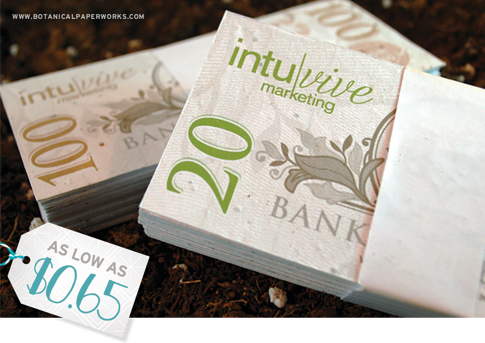 Make a low-risk investment at your next client holiday party with these seed paper Money Bills!