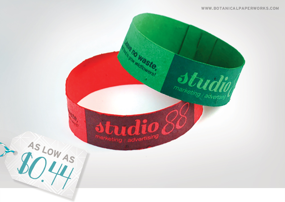 These highly-customizable seed paper Wrist Bands will be a hit at your next client holiday party!