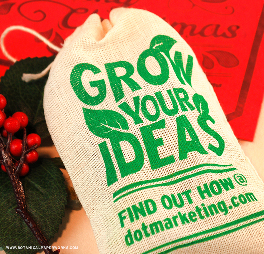Packed with pure NON-GMO seeds that grow either herbs, wildflowers or vegetables, these unique holiday promotional products are inspired by the the eco-friendly Guerilla Gardening movement which works towards bringing life and colour to urban landscapes.