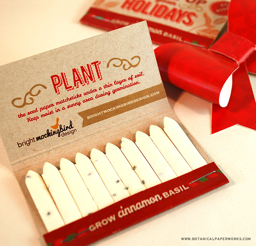Each #SeedPaper Matchbook contains 20 sticks of fragrant cinnamon #basil seed paper that's special to the warm festive season.