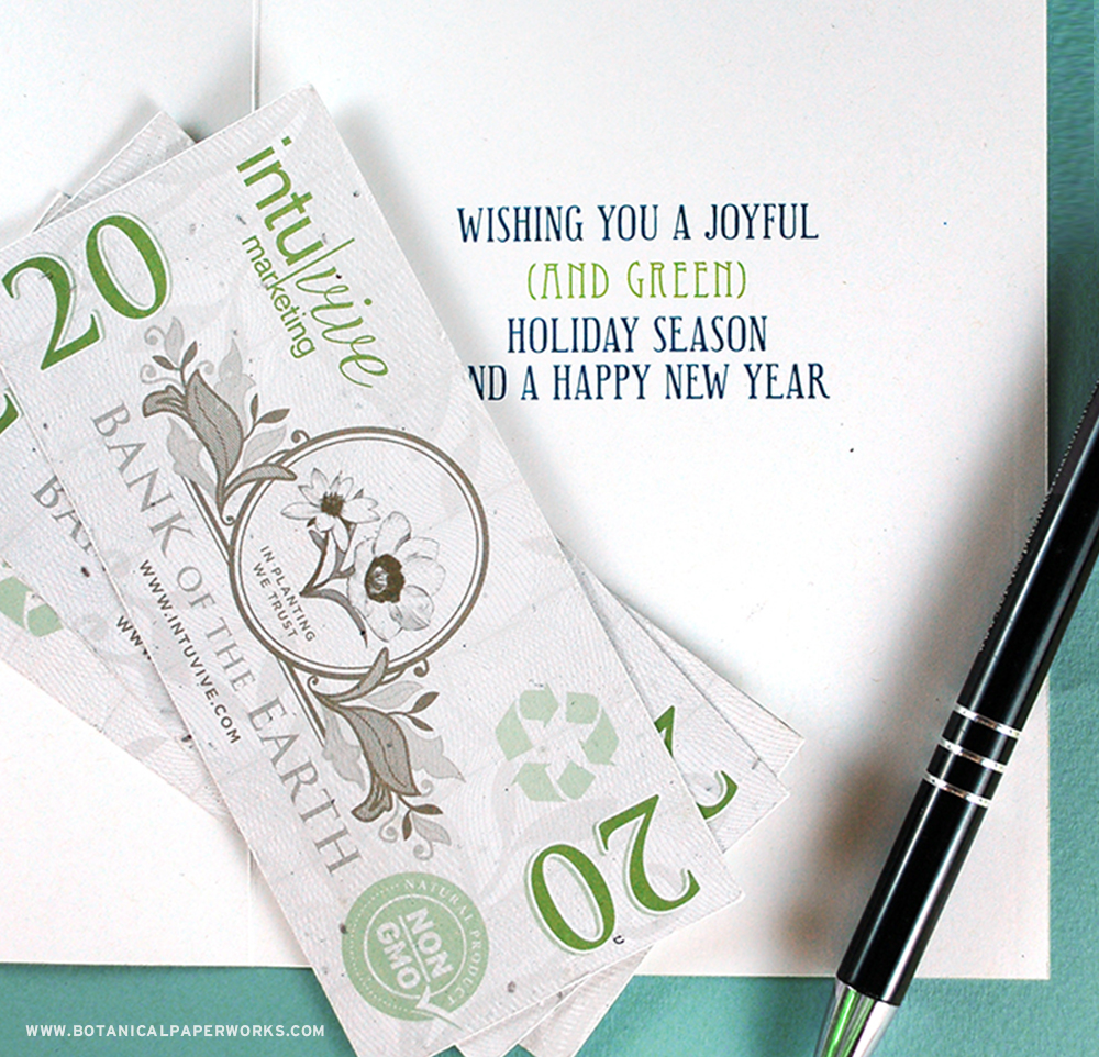 """A unique #promotionalproduct that's great for staff party games or to be added as a """"bonus"""" to holiday cards, Seed Paper Bills are sure to be remembered because they actually look like REAL money!"""