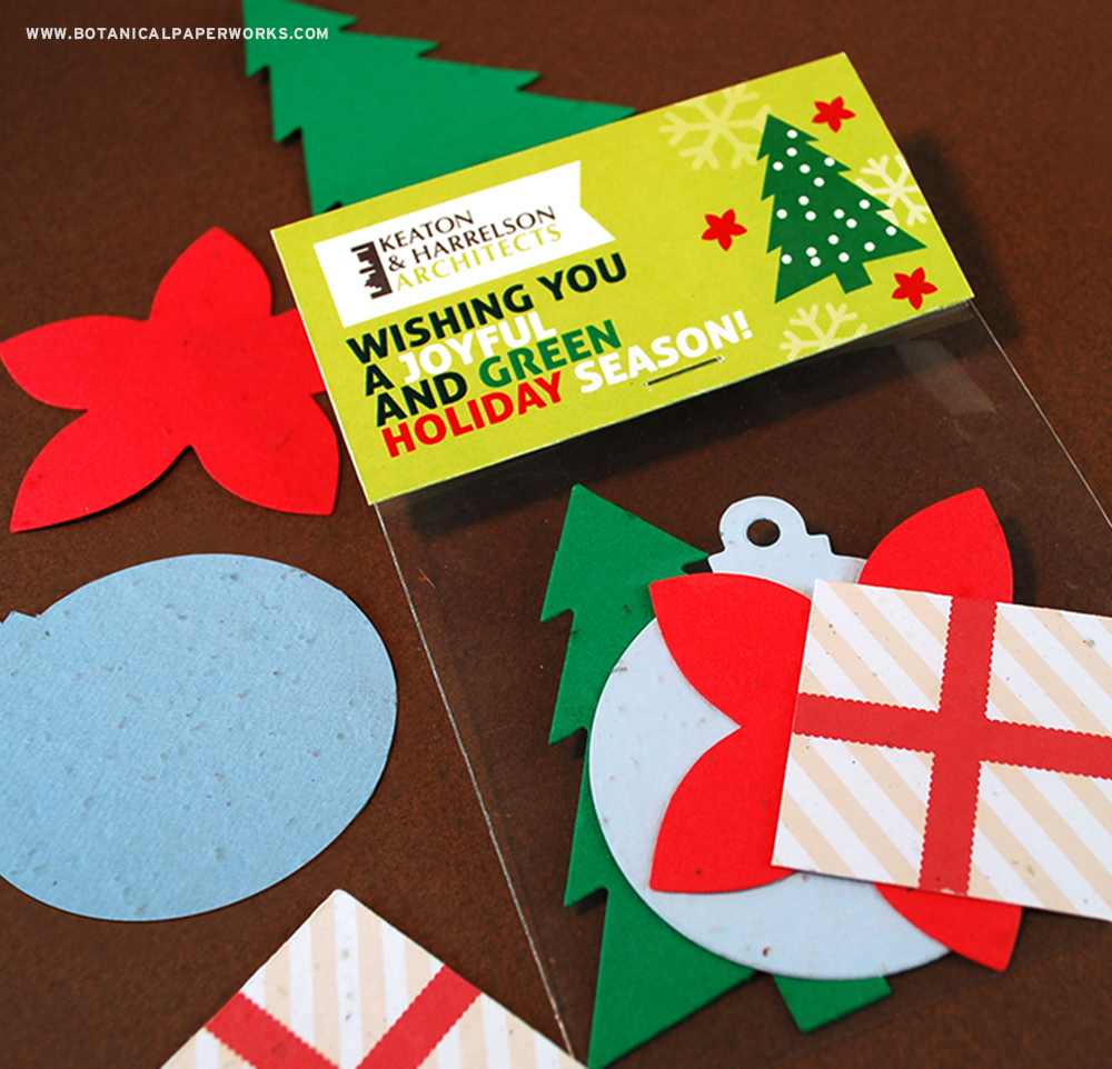Why give one unique holiday promotional product when you can give four? With these charming Christmas Shape Packs, clients and colleagues will have the chance to grow REAL wildflowers because each of the shapes included in the corn plastic packaging is fully plantable!