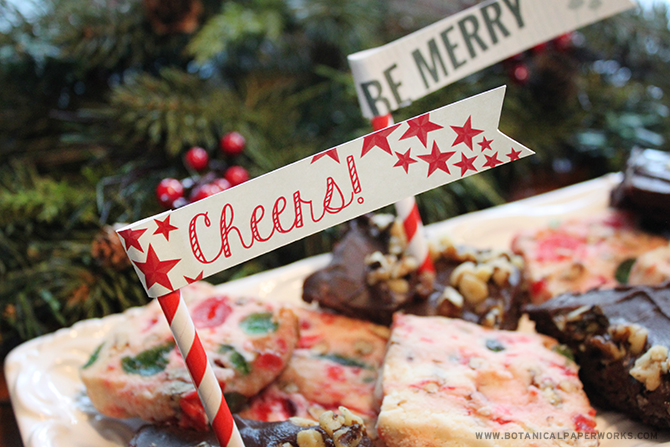 Download this FREE printable food flags with other matching party decor to help you prepare a fun holiday party.