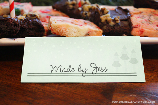 Download this FREE printable food label/place cards with other matching party decor to help you prepare a fun holiday party.