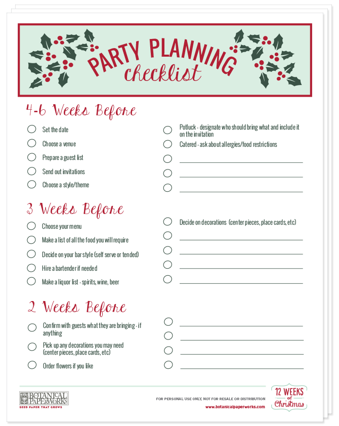This FREE printable party planning checklist is the ultimate guide to hosting a holiday party.