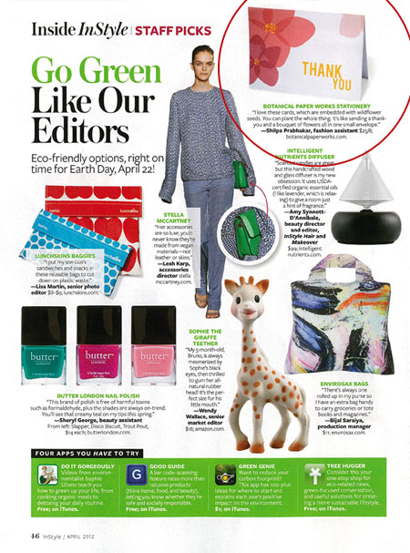 InStyle Magazine April 2012 Staff Picks seed paper
