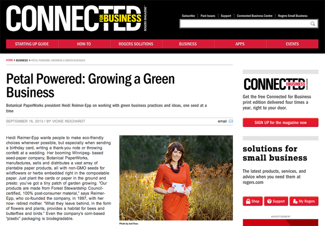 What a  great article from Rogers Connected for Business on Growing a Green Business