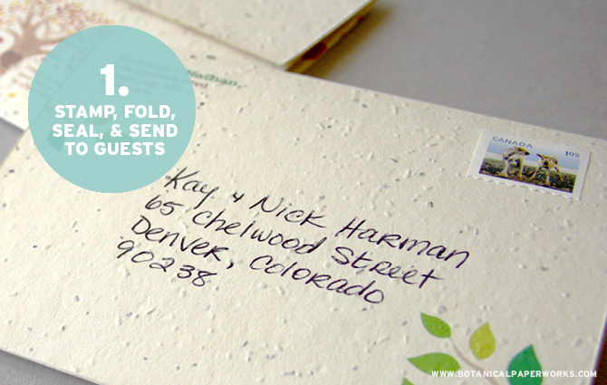 Botanical PaperWorks Seed Paper - Seal and Send Wedding Invitations: Step 1 - Stamp, Fold, Seal, & Send To Guests