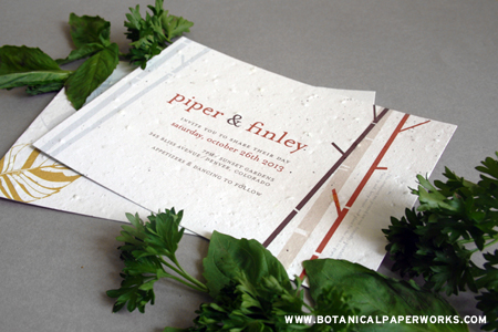 Botanical PaperWorks New Plantable Herb Seed Paper Invites