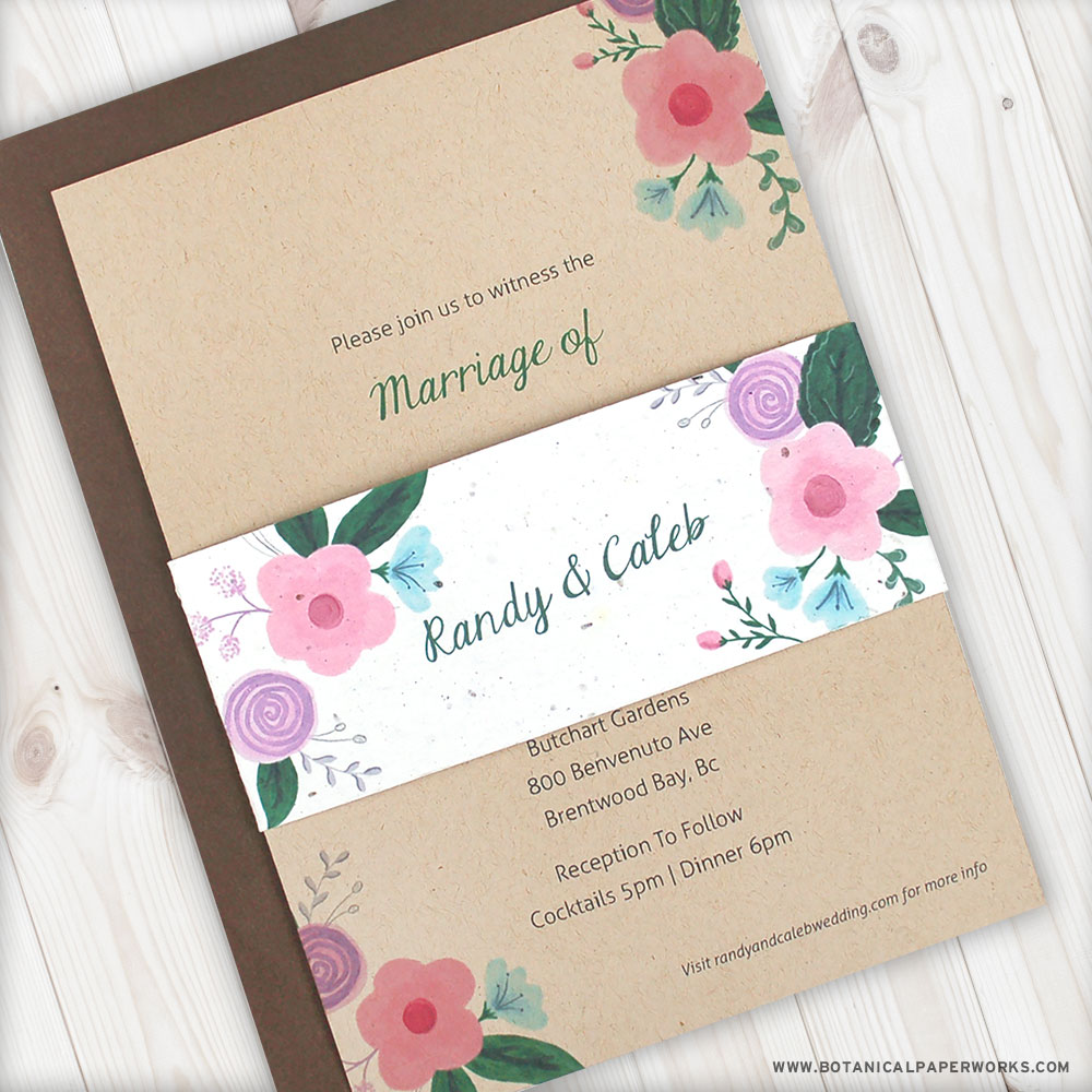 Pretty rustic floral pops adorn this. Kraft Paper Wedding Invitation with Seed Paper Belly Band.