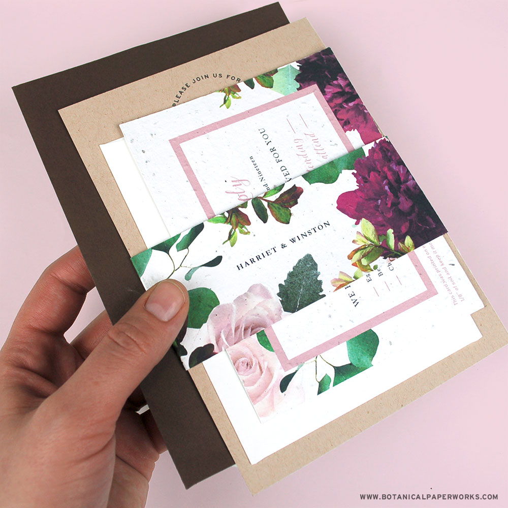Kraft Paper Wedding Invitations with Seed Paper Belly Bands are perfect for tucking in reply and enclosure cards.