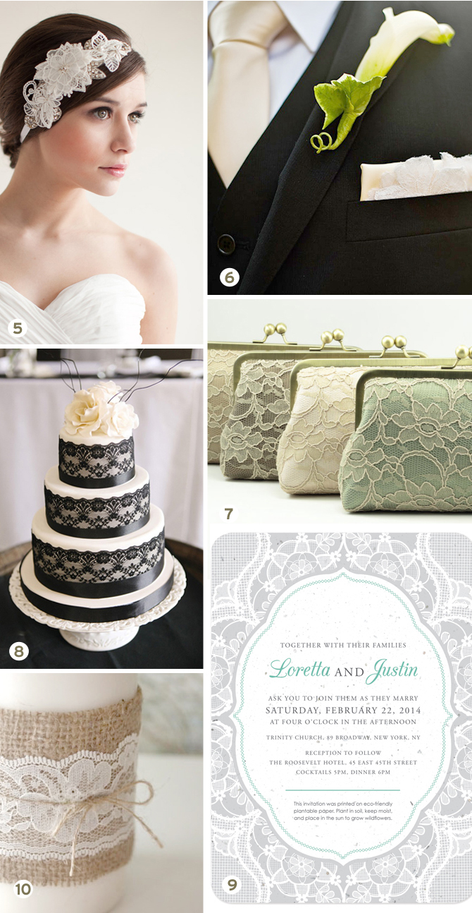 Nothing is more gorgeous for a wedding than lace! Check out this inspiration board for ideas, Part 2 of 2.