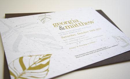 leaf plantable wedding invitation