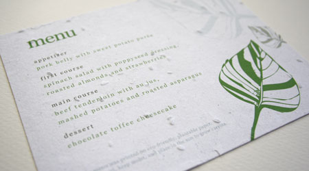 leaf plantable menu card