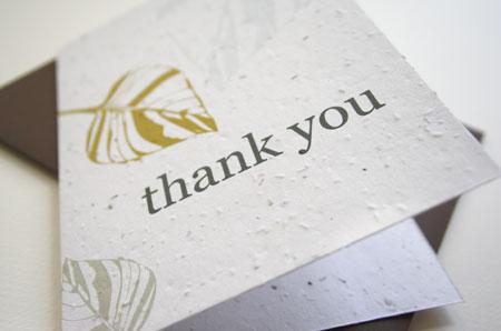 leaf plantable thank you card