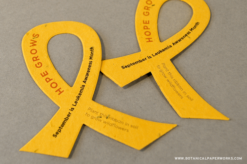 Pass out these ribbon shapes with your awareness message for an unforgettable symbol of hope that will grow when planted