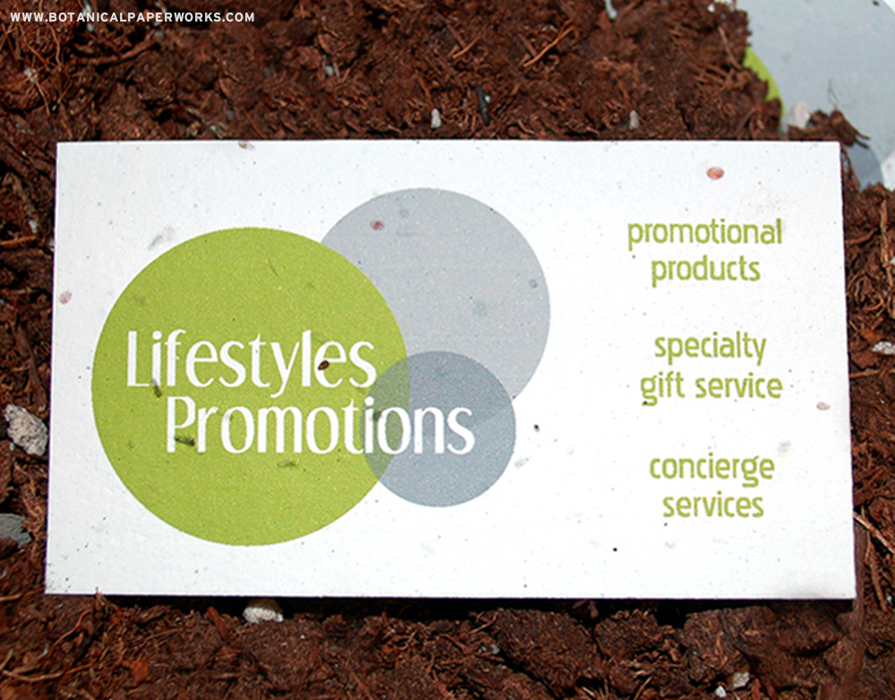 Find out why a promotional product distributor chose seed paper business cards for her own company!