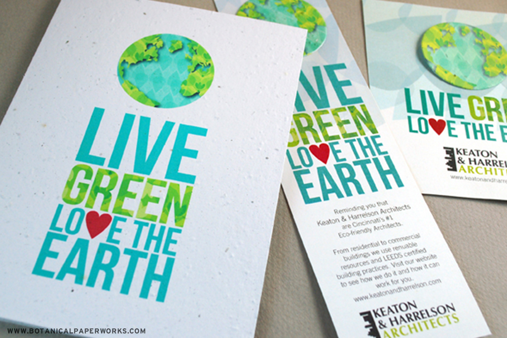 "Pre-designed Earth Day promotions that feature a stylized Earth image and the copy ""Live Green, Love the Earth""."