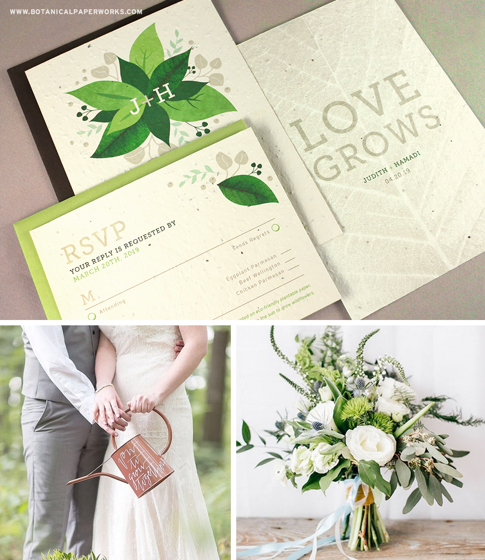 Learn more about  this stunning Plantable Wedding Invitation design inspired by Greenery, Pantone's Color of the Year for 2017.