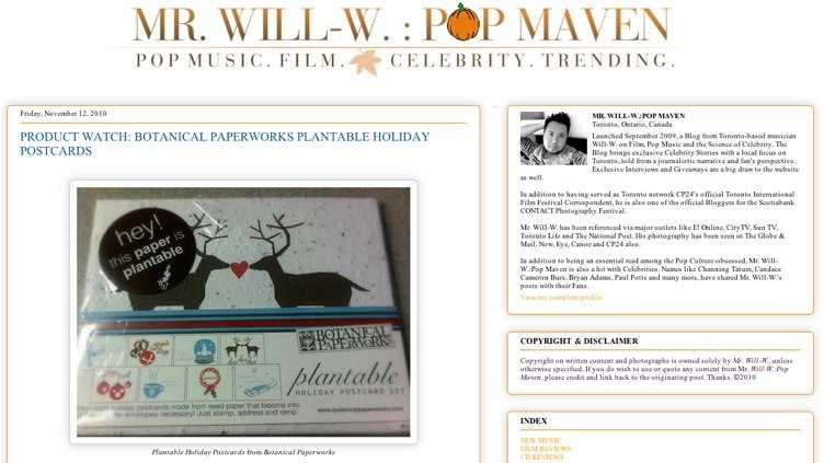Mr Will-W: Pop Maven featuring plantable holiday postcard set