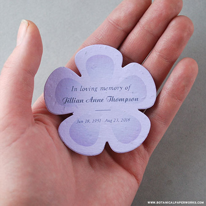 Capture the essence of your loved one with these beautiful personalized seed paper memorial shapes. Available in a flower, butterfly or heart, these special favors are a unique way to offer solace and a private moment for grieving family members.