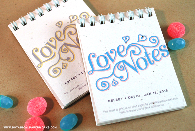 NEW Love Notes Notepad Favors from Botanical PaperWorks