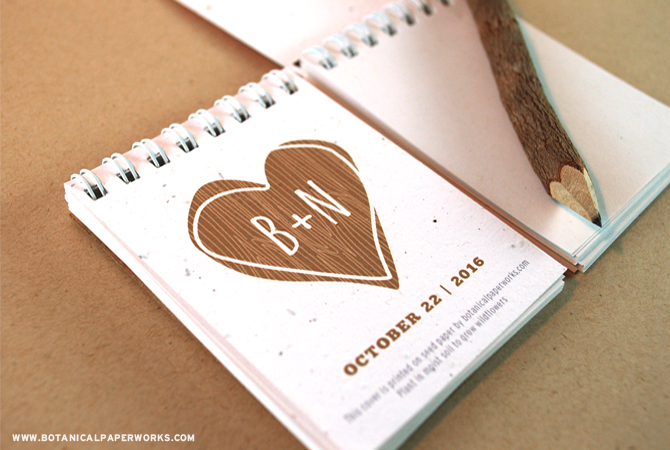 NEW Rustic Tree Notepad Favors from Botanical PaperWorks