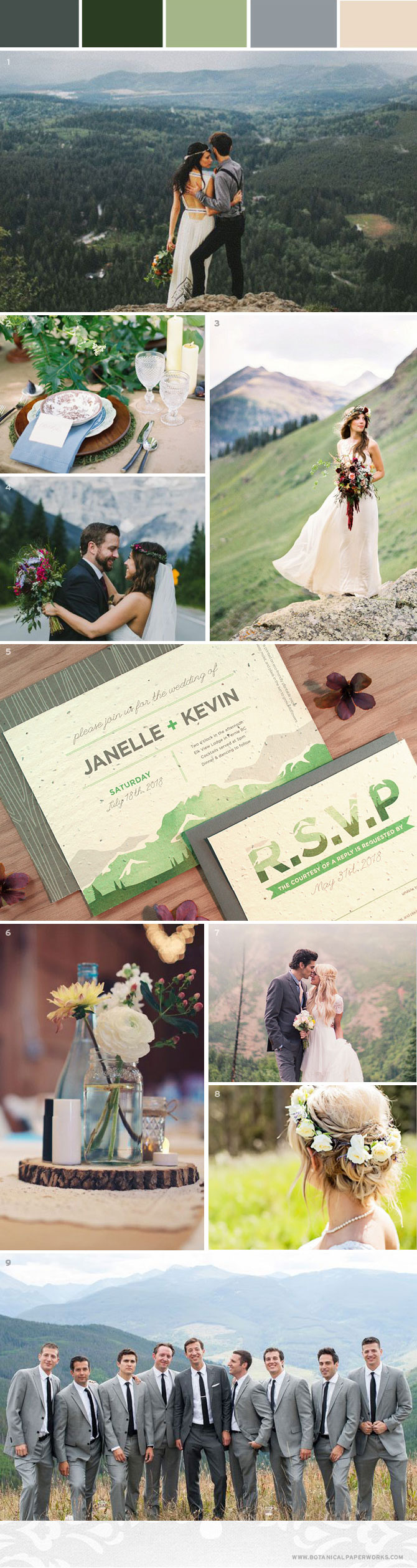 Get inspired by high peaks, rolling hills and awe-inspiring views with this #Mountain #Wedding #InspirationBoard. #WeddingPlanning