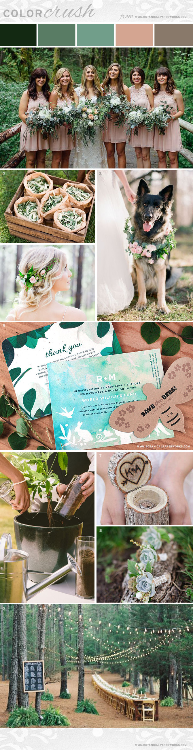 Create natural, beautiful ambiance for an eco-friendly wedding with the earthy elements featured in this dreamy wedding style board.