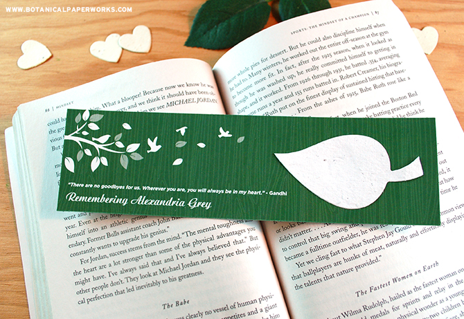 Inspired by the simplicity of natural elements found in the great outdoors, the Nature's Leaf Memorial Bookmarks will honor the life of your loved one in a heartfelt way.