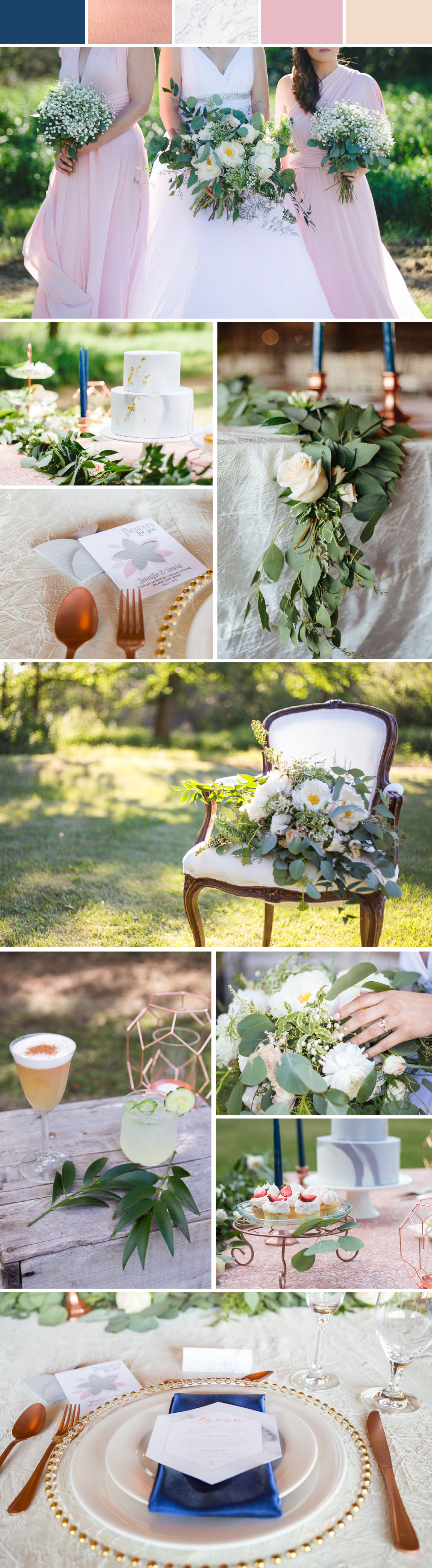 Check out the latest wedding inspiration featuring blush & navy with marble, rose gold & greenery accents.