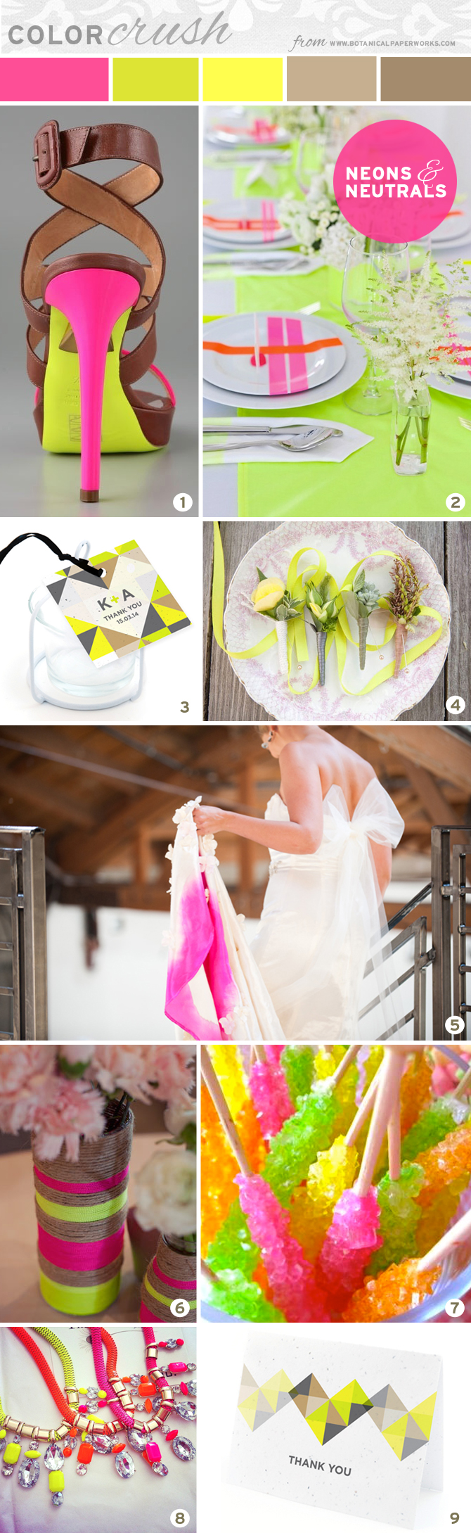 Love this color combo! This Month's Color Crush is a Neons and Neutrals Inspiration Board