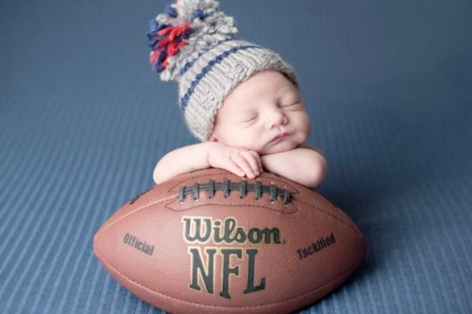 See more new born baby photo ideas like this sweet future football player theme.