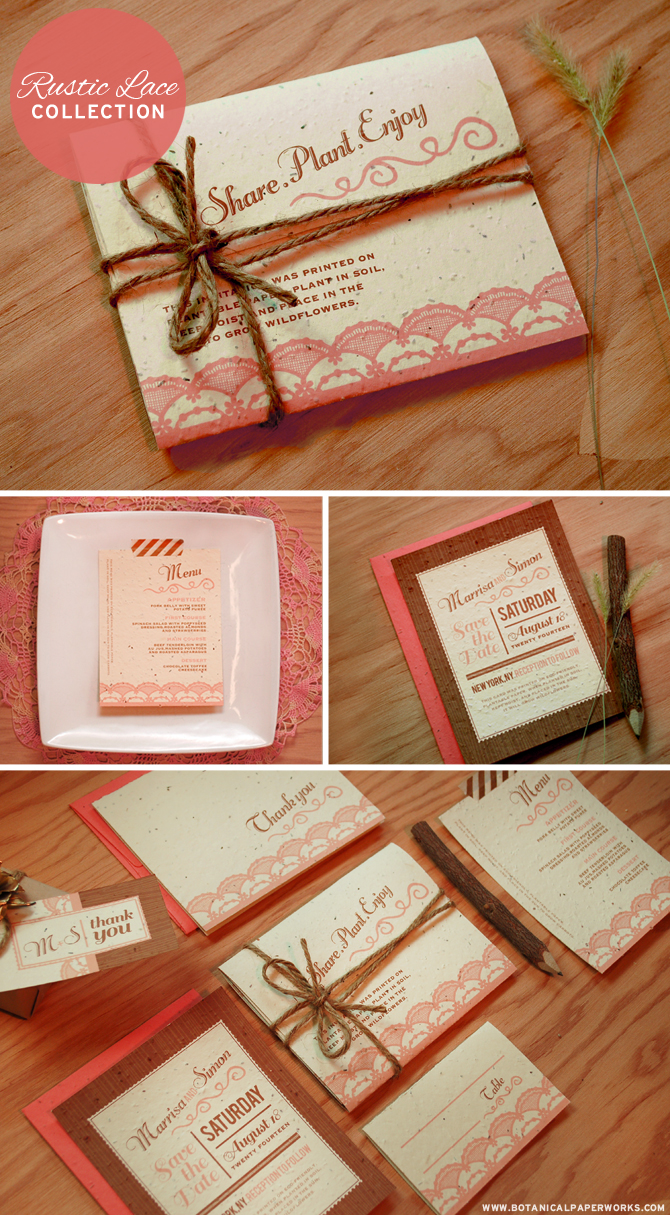 This beautiful new Rustic Lace Collection features a charming Seal and Send Invitation that is truly the green way to go. No fussing with envelopes and the whole thing can be planted to grow wildflowers.
