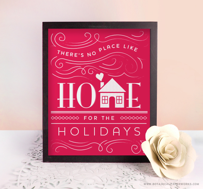 Available in a festive cranberry-red or a classic chalkboard black, these FREE Art Print Printables would look gorgeous in your home for the holiday season.