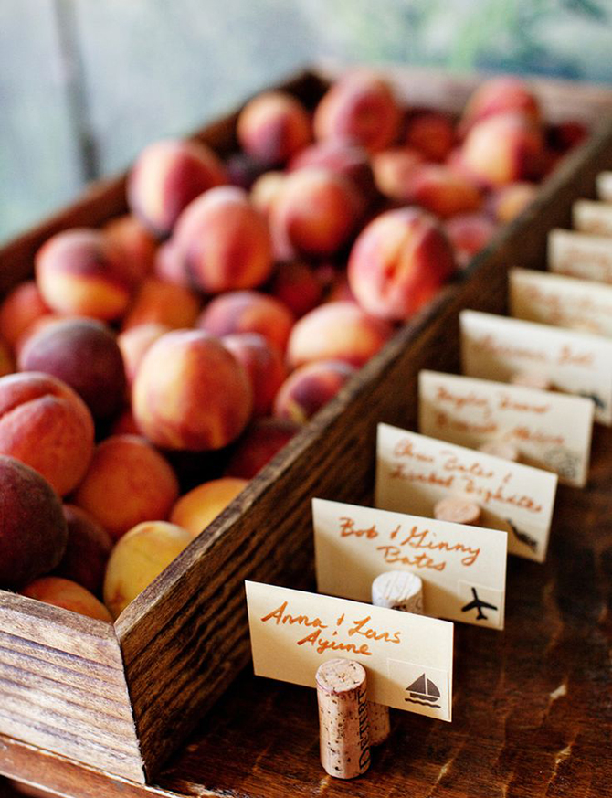 Invite your wedding guests to enjoy a freshly picked peach while they enjoy the beauty of Eco-Friendly Weddings.