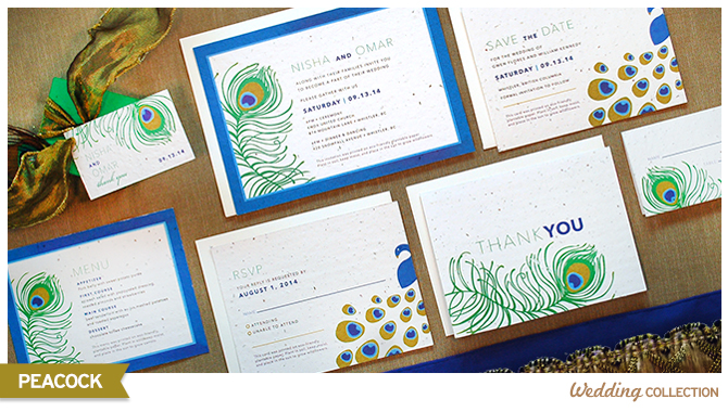 Gorgeous and vibrant new Plantable Peacock Wedding Collection from Botanical PaperWorks. Each piece can be planted to grow wildflowers!