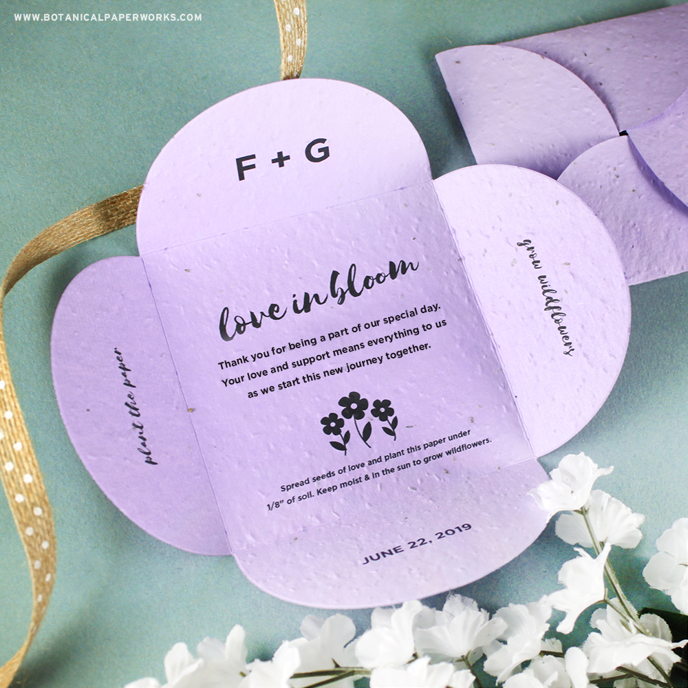 Learn more about these Plantable Petal Card Wedding Favors that feature a message of thanks inside a card that will blossom into real wildflowers.