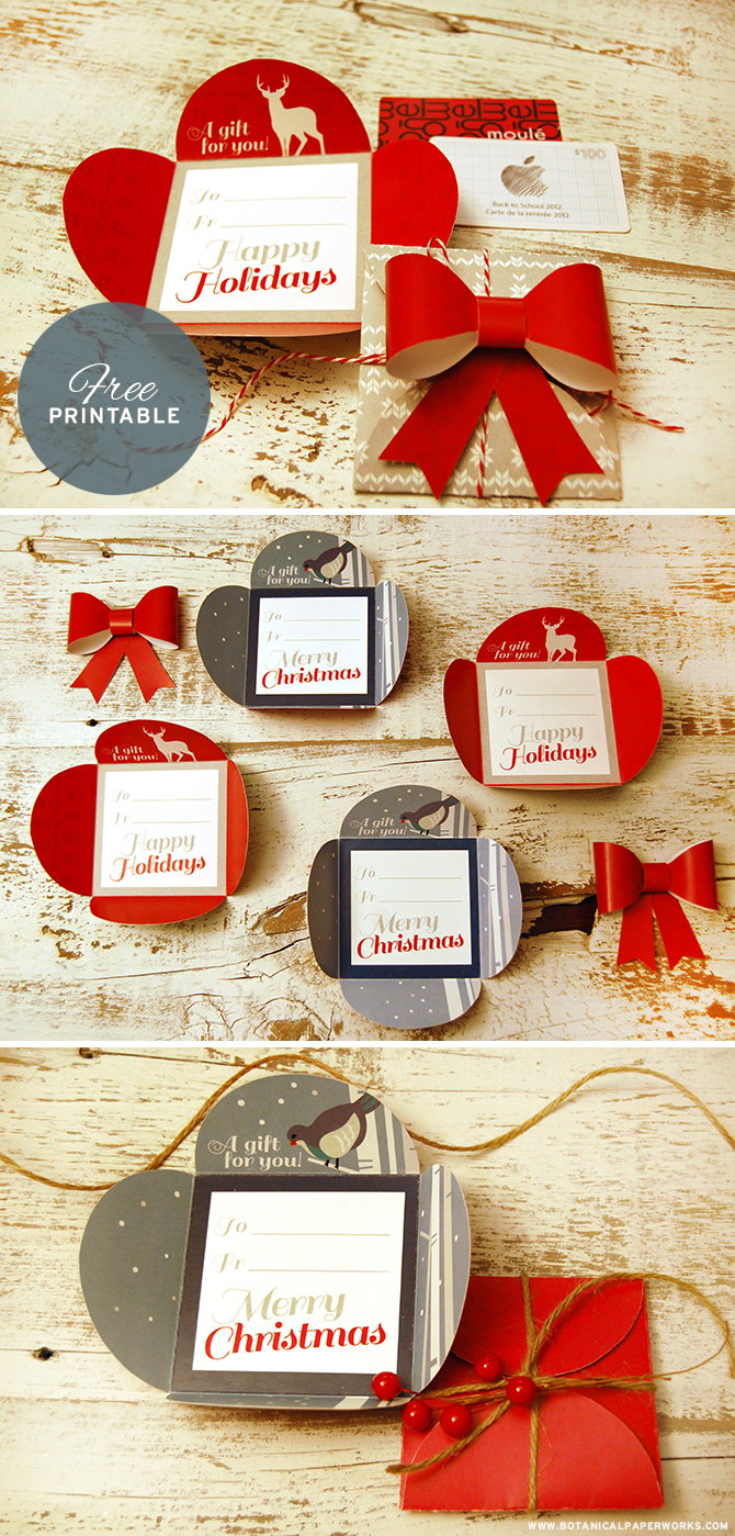These free printable Petal Cards are great for last minute gift ideas and to jazz up ordinary gift cards this Christmas.