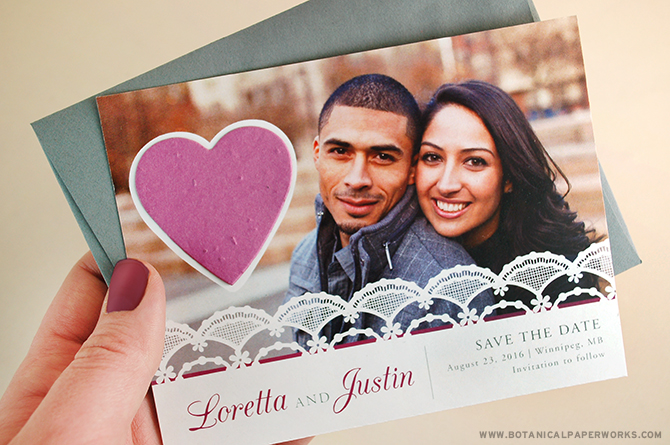 This elegant save the date card is available in 6 color options and features a plantable heart shape attached.