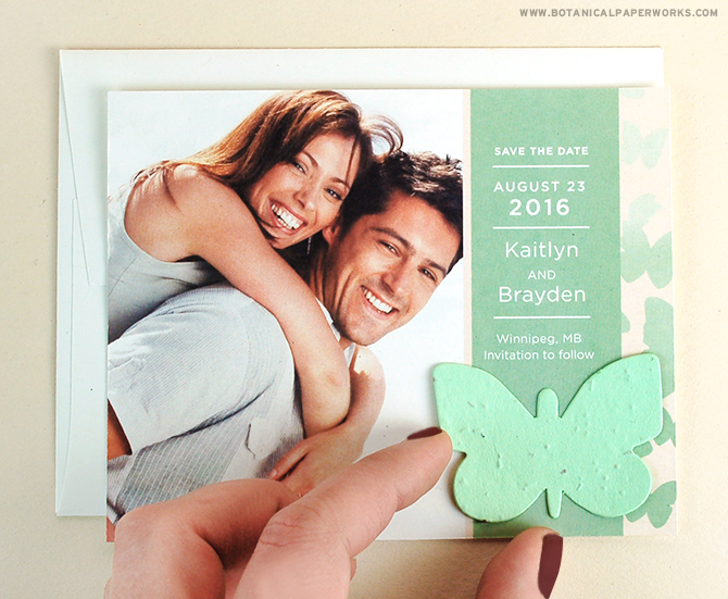 This delicate and modern Ombre Seed Paper Butterfly Save the Date Card features a seed paper butterfly to compliment the design.