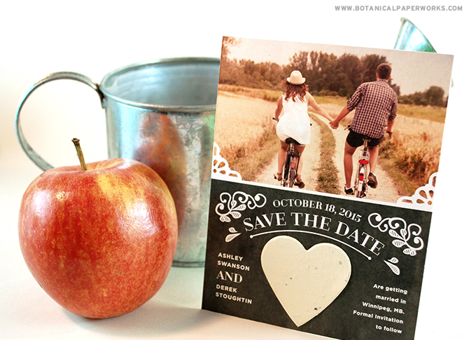 These vintage save the date cards make a fun first impression and guests will love planting the heart to grow a garden of wildflowers.