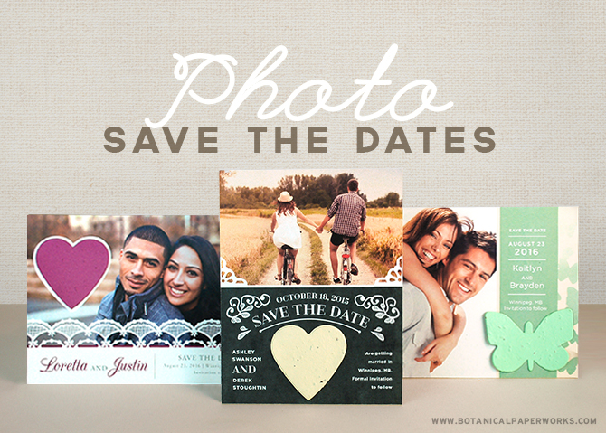 Add your engagment photos to these unique save the date cards that feature a seed paper shape attached for your guests to plant and grow.